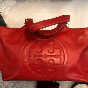 TORY BURCH Red Leather Double Top Handle Handbag